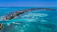 Luftbild vom südlichen Teil der Insel Caye Caulker in Belize