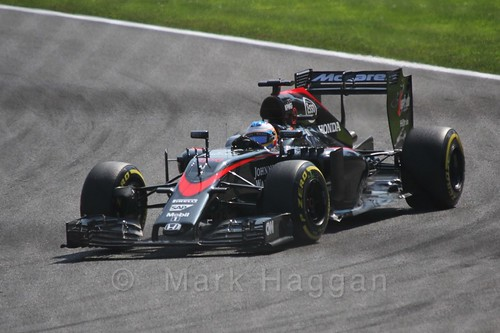 Fernando Alonso in qualifying for the 2015 Belgium Grand Prix