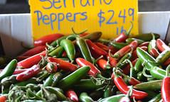 Serrano Peppers (Jason Rosenberg) Tags: blue red hot green vegetables yellow price nikon farmersmarket maryland peppers hotpeppers serranopeppers nikond5200