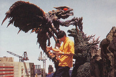 Setting up for a scene in Godzilla vs. Megaguirus (2000) (Tom Simpson) Tags: film japan set vintage movie 2000 godzilla suit actor behindthescenes kaiju 2000s megaguirus godzillavsmegaguirus