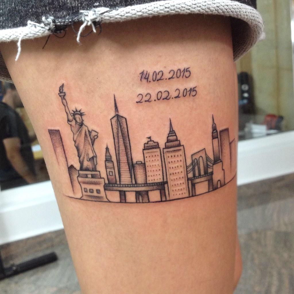 18 new york skyline tattoo wandtattoo new york for Minimalist tattoo nyc