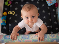 So cute (Dahrth) Tags: portrait baby toys bokeh blueeyes parc bébé playpen jouets lumixgf1 panasoniclumixgf1 20mmpancake gf120