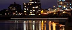Bus and boat trails along the River Thames (highland_heffalump) Tags: city uk light england urban london unitedkingdom lighttrails riverthames vauxhall vauxhallbridge boattrails
