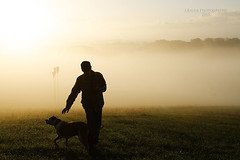 in the morning mist (Jutta Bauer) Tags: morning light dog mist man silhouette sunrise