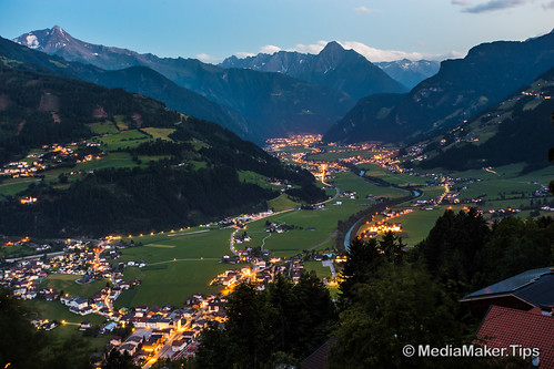 View on Zell am Ziller city and alps at night