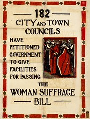 Suffrage campaigning: 182 City And Town Councils Have Petitioned Government To Give Facilities For Passing The Woman Suffrage Bill c.1913
