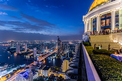 Sky Bar (adrianchandler.com) Tags: city blue roof urban building rooftop bar night canon river spectacular asian thailand restaurant golden amazing asia southeastasia cityscape view state outdoor bangkok balcony hour thai dome adrian bluehour southeast chandler th towner lebua adrianchandler canon5dsr 5dsr statetowner