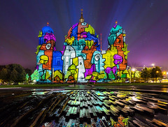 Festival of Lights 2015-Thierry Noir at Berlin Cathedral (Nelofee-Foto) Tags: berlin night canon colours nightshot no flash sightseeing illumination dome sight festivaloflights beleuchtung berlinerdom lustgarten berlincathedral canon5dmarkiii