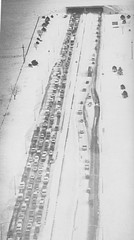 Interstate 70 near Stapleton was at a standstill. (Rocky Mountain News / Denver Public Library Archives)