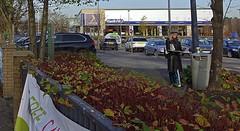 2014.12-06.1250sm Foss Islands, York (mwe152) Tags: recycling newspapers chic lady woman stylish leathercoat ledermantel damenmode fashion kwikfit female leather december winter hiver boots green