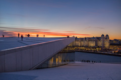 Oslo (morten f) Tags: oslo norge norway havn harbour harbor sea sjø hav is ice winter vinter cold sunset solnedgang reflection art kunst she lies sun outdoor landscape shore seaside people