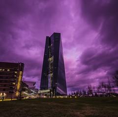 🎶 Purple rain, purple rain 🎶 (benjaminwolf1) Tags: olympus tower cityscape evening dusk sunset illuminated outdoors ecb modern glass metal sky clouds skyscraper frankfurt