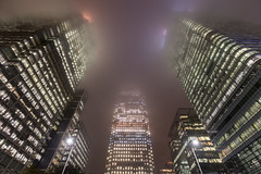 Giants In The Mist (www.paulshearsphotography.com) Tags: 1canadasquare 18second 1635mmf4l 16mm 6d architecture bankofamerica building canarywharf canoneos6d citi citibank citigroup city cityscape cloud clouds docklands ef1635mmf4lisusm evening fog foggy hsbc highrise iso800 london mist misty night office paulshears paulshearsphotography pink skyscraper uk unitedkingdom urban urbanlandscape f56 wwwpaulshearsphotographycouk