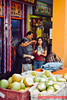 Singapore 2016: Little India - Tourists At The Coconut Store (Wing Yau Au Yeong) Tags: coconutjuice coconuts corner drink drinking eating family hawker littleindia selling serangoonroad shop singapore store streetphotography travel sg