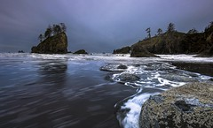 Washington Coast, Second Beach (Mstraite) Tags: water beach washington waves rocks trees canon tripod blended cold olympic national park
