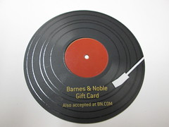 Record Gift Card. (dccradio) Tags: lumberton nc northcarolina robesoncounty record lp 3313 turntable recordplayer giftcard card whitebackground circle round black white red barnesandnoble bn photooftheday photo365 pictureoftheday