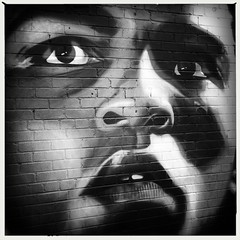 Muhammad Ali (firstnameunknown) Tags: iphoneography hipstamatic blackwhite monochrome birmingham digbeth cityofcolours urban art graffiti mural streetart muhammadali face portrait
