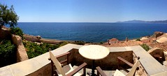 panoramic view from our patio at Malvasia Hotel IMG_3418 (mygreecetravelblog) Tags: greece peloponnese monemvasia castletown historicsite unescoworldheritagesite fortresstown castle fortress outdoor landscape village town hotel malvasia malvasiahotel malvasiahotelmonemvasia malvasiatraditionalhotel castlehotel hotelroompatio hotelroomterrace hotelroombalcony patio view watersea panoramic