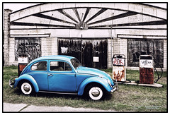 Bygone Era (juliewilliams11) Tags: car volkswagen vw garage building iconic grafitti rust texture contrast vehicle bleached black blue architecture era photoborder newsouthwales australia