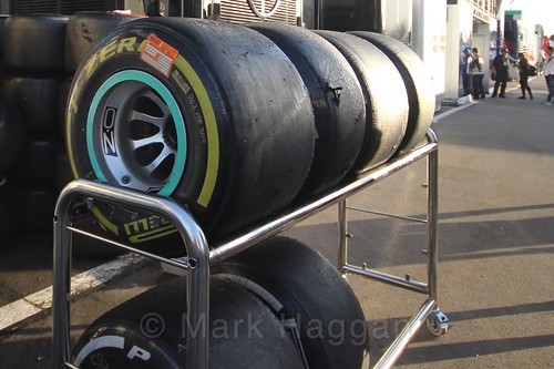 Pirelli tyres during Formula One Winter Testing 2017