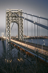 The George Washington Bridge (mudpig) Tags: longexposure bridge newyork river newjersey cityscape manhattan nopeople license hudsonriver hdr fortlee gettyimages washingtonheights nuevayork lighttrail 2015 royaltyfree lightstream cidadedenovayork mudpig stevekelley      lavilledenewyork stevenkelley licensenow