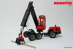 02_KOMATSU_951 (LegoMathijs) Tags: wood tree scale wheel forest town team model woods with lego suspension head forestry central hose technic trunk pivot komatsu harvester 125 harvesting axle 951 moc rigid s172 snotted legomathijs