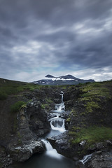 Fresh from the top (KasparsDz) Tags: summer sky mountain clouds river landscape waterfall iceland moss rocks stream hvalfjordur