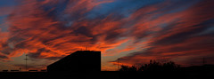 Wings of Phoenix (monorail_kz) Tags: city blue sunset red sky panorama black skyline clouds