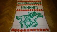 Racing blanket for Graham (dochol) Tags: horse chart cute wool handmade name crochet craft graph yarn jockey blanket afghan horseracing alphabet manta personalised croche crochethooks haakenwert