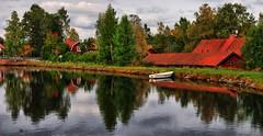 Sundborn, Dalarna, Sweden (EugeniusD80) Tags: trees houses panorama lake reflection water river boat nikon sweden outdoor nikkor scandinavia dalarna hdr tonemapped 18200vr d80 sundborn