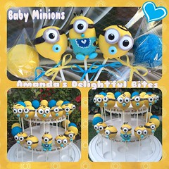 Baby minions (Amanda's Delightful Bites) Tags: birthday blue baby yellow cake shower balls pop minions sprinkled minion cakepops