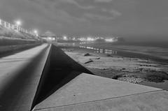 Towards a fog (OzzRod) Tags: blackandwhite beach monochrome fog night coast pentax angles promenade k5 merewether smcpentaxda15mmf4limited