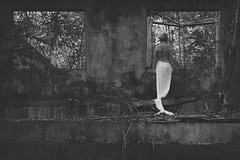 """""""Contrasts"""" (helmet13) Tags: d700 raw bw she woman topless jungle hulk desolate building stairs trees plants tropical windows beauty relaxed seychelles rückenfigur silence aoi heartaward peaceaward 100faves world100f"""