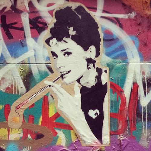 Audrey Hepburn #Australia #Melbourne #graffiti #streetart #stickers #pasteup #audreyhepburn #hosierlane