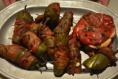 Appetizers (ricko) Tags: food bacon toothpicks grilled appetizers platter redpepper jalapenos smokedgouda stuffedandbaconwrappedjalapenos