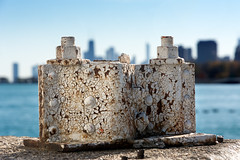 City of Rust (Andy Marfia) Tags: chicago skyline concrete iso100 pier rust rivets decay steel nuts lakemichigan lakeview f8 montroseharbor lakefront citiscape 1500sec d7100 1685mm