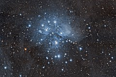 Messier 45: The Pleiades (jschr338) Tags: canon stars space cluster apo telescope nebula astrophotography m45 astronomy cosmos refractor apochromatic 450d xso 384mm es80ed