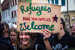 #Refugees Welcome (award winner) (lukas.jonathan) Tags: girl demo march refugees protest demonstration schild solidarity activism fascism slogan racism mdchen parole manifestacin antifa rottenburg solidaritt flchtlinge refugeeswelcome lukasjonathan