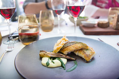 Red snapper, tarragon, potato vinaigrette, zucchini flower. (God_speed) Tags: red food fish modern point aqua dish harbour main north sydney australian plate course gourmet seafood dining cbd snapper milsons foodie epicurean kirribilli plateup epicurie