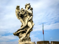 Angels of Rome (ashuphoto) Tags: travel sky italy storm rome art history church rain weather clouds canon photography fly wings italian europe cross cathedral cloudy roman religion saints culture dramatic visit historic christian scuplture angels thunder lifelike 70d