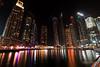 Dubai Marina (Wesam Alissa) Tags: dubai 2016 marina dubaimarina longexposure night nightphoto nightphotography canon80d wesamalissa uae water reflection lightreflection nightlights nightonearth dubainight