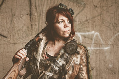 (No Stone Unturned Photography) Tags: abandoned smokestack mayer urbex post apocalyptic cosplay costume girl woman gun lever action 22 rifle fallout wasteland industrial outfit
