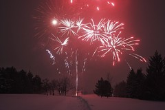 Happy New Year! Nepean fireworks. (beyondhue) Tags: happy new year fireworks nepean ottawa centrepointe snow winter beyondhue park path trees horizon canada greetings