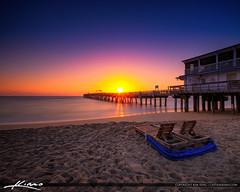 Lake Worth Pier Sunrise Smooth Ocean at Beach Square (Captain Kimo) Tags: aurorahdr2017 captainkimo easyhdr hdrphotography lakeworthbeach lakeworthpier palmbeachcounty southflorida sunrise
