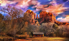Cathedral Rock - Dec. 2016 (D'ArcyG) Tags: sedona arizona cathedralrock mountain redrock cottonwoods trees winter sunset rural western