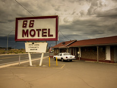 straight talker (Jo-H) Tags: route66 arizona retro americansouthwest flagstaff car road clouds sign motel vintage