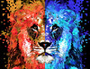 Lion Art - Majesty - Sharon Cummings (BuyAbstractArtPaintingsSharonCummings) Tags: lion lions animal animals lioness africananimals africa red mascot sports sportsteam teamcolors nittanylions detroitlions blue color colorful primarycolors teal aqua white black fantasy sharoncummings unique unusual cool different narnia safari jungle junglecat bigcats feline zoo zooanimals bold highcontrast violet crimson ruby wild wildlife nature king majestic majesty