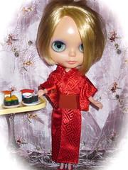 BaD:  9th Feb 2017 - Lady in Red (Calendar girl 48 / grannygreen) Tags: blythedolls twiggy badfeb2017 ladyinred japanese sushi