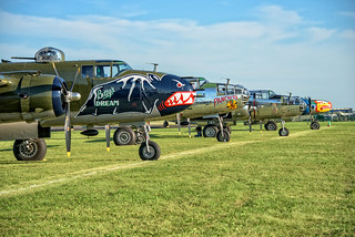 Warbirds/Boeing Plaza: A gathering of North American B-25 Mitchell medium bombers coming to Oshkosh to commemorate the 75th anniversary of the famed Doolittle Raid.