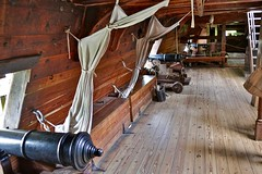 The starboard cannons on the Susan Constant (nutzk) Tags: virginia jamestown settlement susanconstant boat ship sail sailboat cannon tween deck